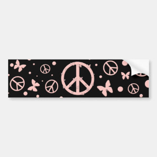 Pink Peace and Butterflies Bumper Sticker