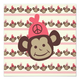 Pink Peace Monkey Custom Birthday Invitation
