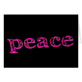 pink peace on black card