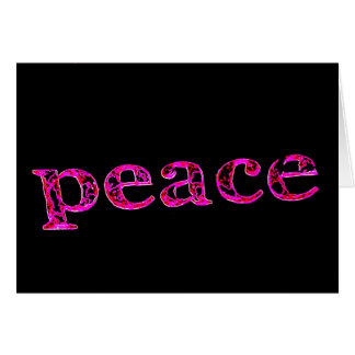 pink peace on black greeting card