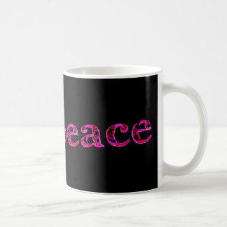 pink peace on black basic white mug