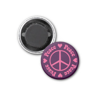 Pink Peace Sign 3 Cm Round Magnet