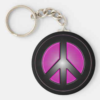 pink peace sign basic round button key ring