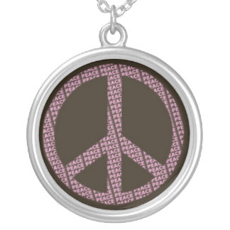Pink Peace Sign on Brown.jpg Round Pendant Necklace