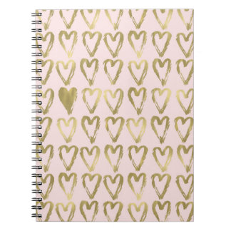 Pink Peach and Gold Hearts Notebooks