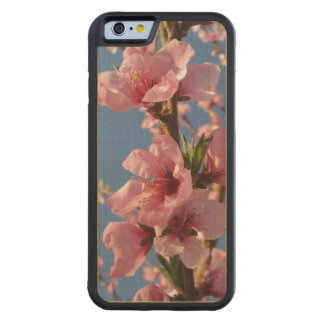 Pink peach blooms with sunny blue sky carved maple iPhone 6 bumper case