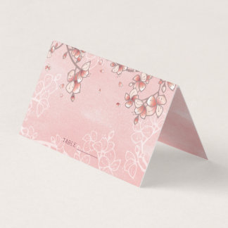 Pink Peach Blossoms Spring Florals Chinese Wedding Place Card