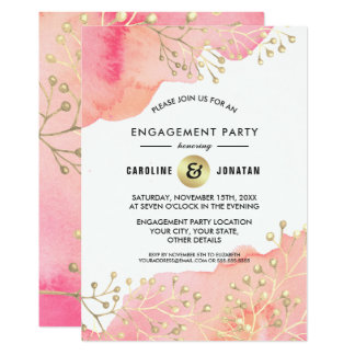 Pink | Peach Botanical Engagement Party Invitation