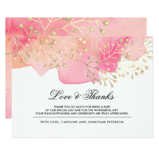 Pink | Peach Branches Wedding Thank You Cards