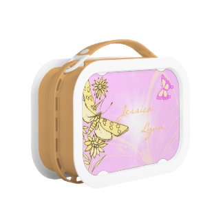 Pink Peach Butterfly Lunch Box