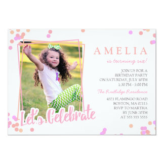 Pink & Peach Confetti Photo Kids Birthday Party Card