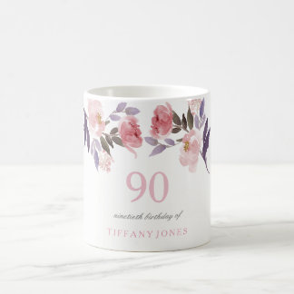 Pink Peach Floral Watercolor 90th Birthday Gift Coffee Mug