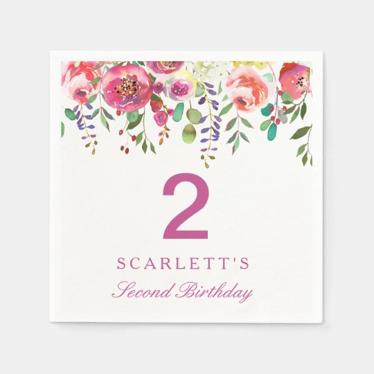 Pink Peach Flowers Girl 2nd Birthday Party Napkin Paper