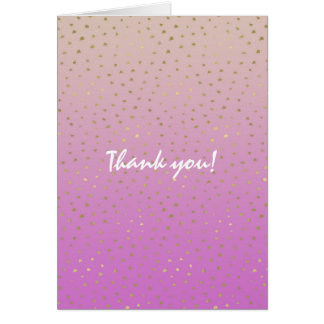 Pink Peach Gold Ombre Confetti Dots Thank you Card