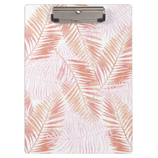Pink & Peach Palm Leaves Clip Board