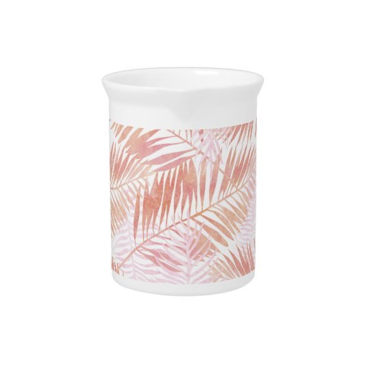 Pink & Peach Palm Leaves Pitcher