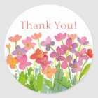Pink Peach Purple Watercolor Flowers Thank You Classic Round Sticker