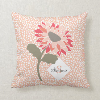 Pink-Peach-Salmon Flower Random Dots Monogram Cushion