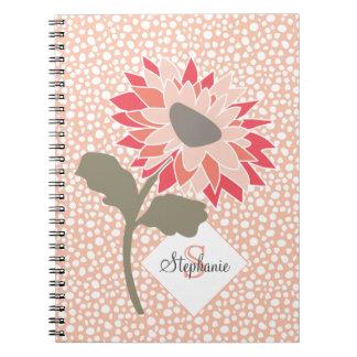 Pink-Peach-Salmon Flower Random Dots Monogram Spiral Notebook