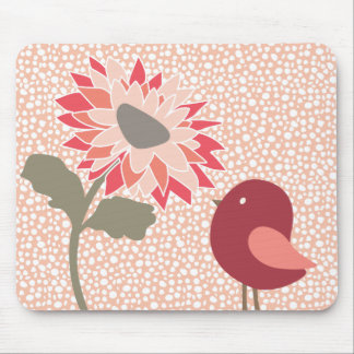 Pink-Peach-Salmon Flower Random White Dots Mouse Pad