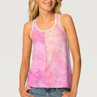 Pink Peach Watercolor all over print tank top
