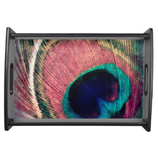 Pink Peacock Feather Chic Serving Tray
