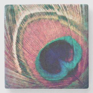 Pink Peacock Feather Chic Stone Coaster