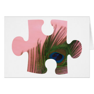 Pink Peacock Feather Puzzle Piece Card