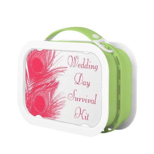 Pink Peacock Feather Wedding Day Survival Kit Box Lunch Boxes