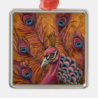 Pink Peacock Metal Ornament