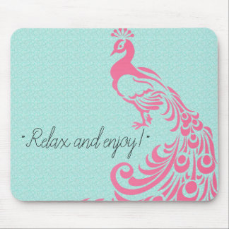 PINK-PEACOCK-SELF-EXPRESSION-TEMPLATE MOUSE PAD