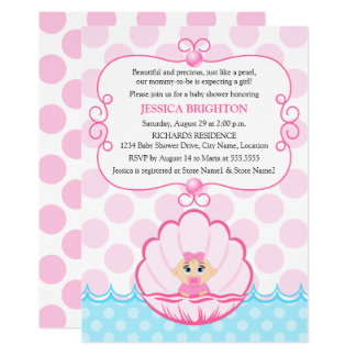 Pink Pearl Baby Girl Shower Invitations