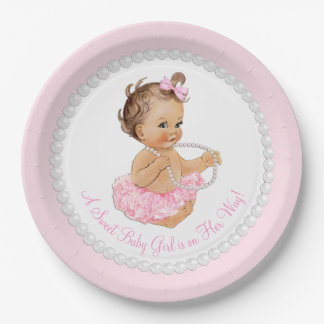 Pink Pearl Ballerina Tutu Baby Shower Paper Plate