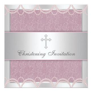Pink Pearl Cross Baby Girl Baptism Christening 13 Cm X 13 Cm Square Invitation Card