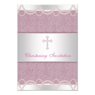 Pink Pearl Cross Baby Girl Baptism Christening 9 Cm X 13 Cm Invitation Card