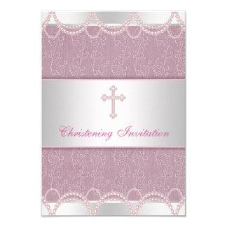 Pink Pearl Cross Baby Girl Baptism Christening 9 Cm X 13 Cm Invitation Card