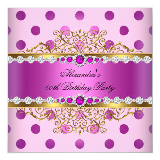Pink Pearl Gold Plum Polka Dots Birthday Party 13 Cm X 13 Cm Square Invitation Card