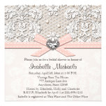 Pink Pearl Lace Diamond Bridal Shower Invitations