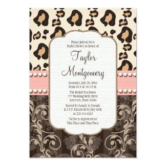Pink Pearl Leopard Print Bridal Shower Invitations