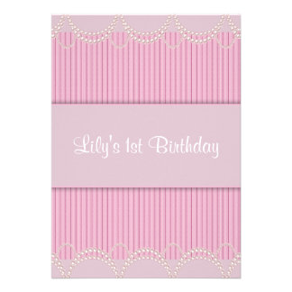 Pink Pearl Pinstripe Girls 1st Birthday Party Invitations