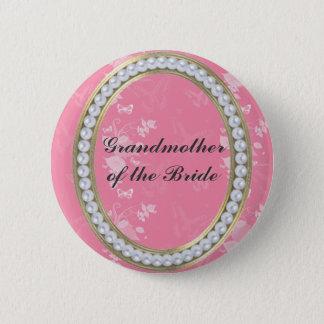 Pink, Pearls, Butterflies Grandmother Button