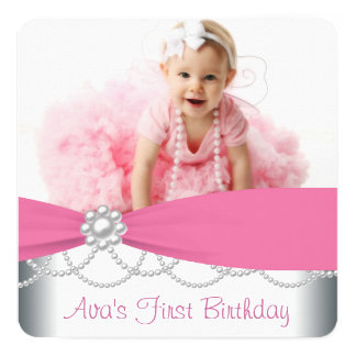 """Pink Pearls Girls Photo Birthday Party 5.25"""" Square Invitation Card"""