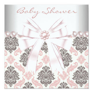 Pink Pearls Pink Brown Damask Baby Girl Shower Card
