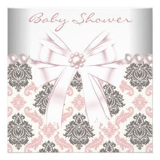 Pink Pearls Pink Brown Damask Baby Girl Shower Custom Invites