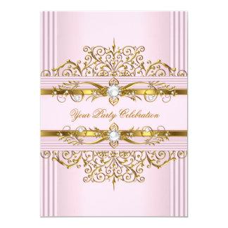 Pink Pearls White Gold Elegant Birthday Party 13 Cm X 18 Cm Invitation Card
