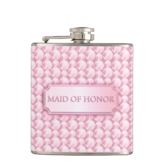 Pink Pearly Maid of Honor Wedding Flask