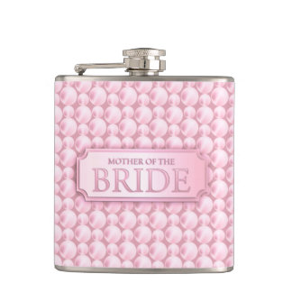 Pink Pearly Mother of the Bride Wedding Flask