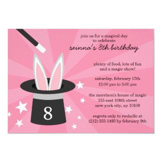 Pink Peek-a-Boo Rabbit Custom Magic Birthday Party 13 Cm X 18 Cm Invitation Card