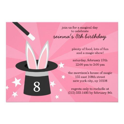 Pink Peek-a-Boo Rabbit Custom Magic Birthday Party Invitations