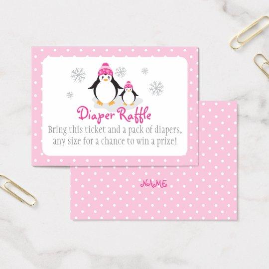 Pink Penguin Diaper Raffle Ticket